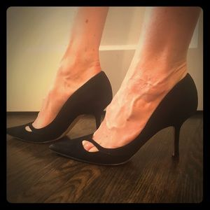Black suede Jimmy Choo pumps